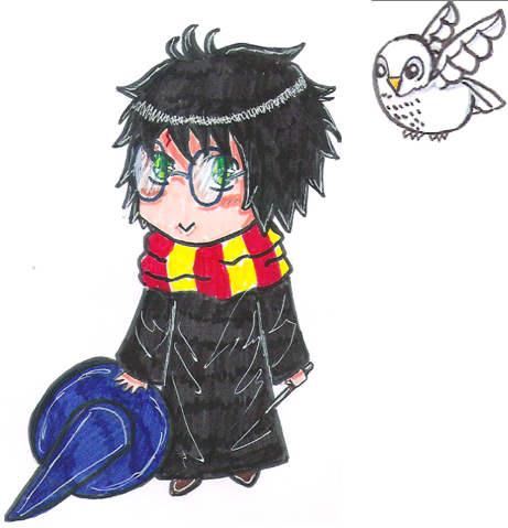 harry potter and hedwige chibi